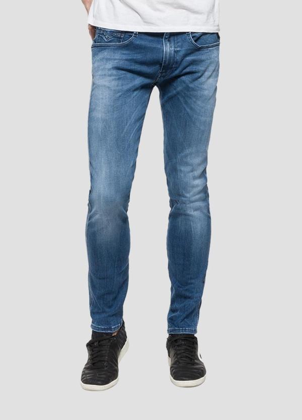 Pantalón tejano 11,5 oz SLIM 914 ANBASS color azul medio lavado. 85% Algodón 10% Poliéster 5% Elastáno. - Ítem3