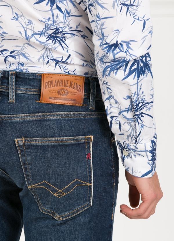 Pantalón tejano corte recto MA972 GROVER color azul oscuro lavado algodón - Ítem3