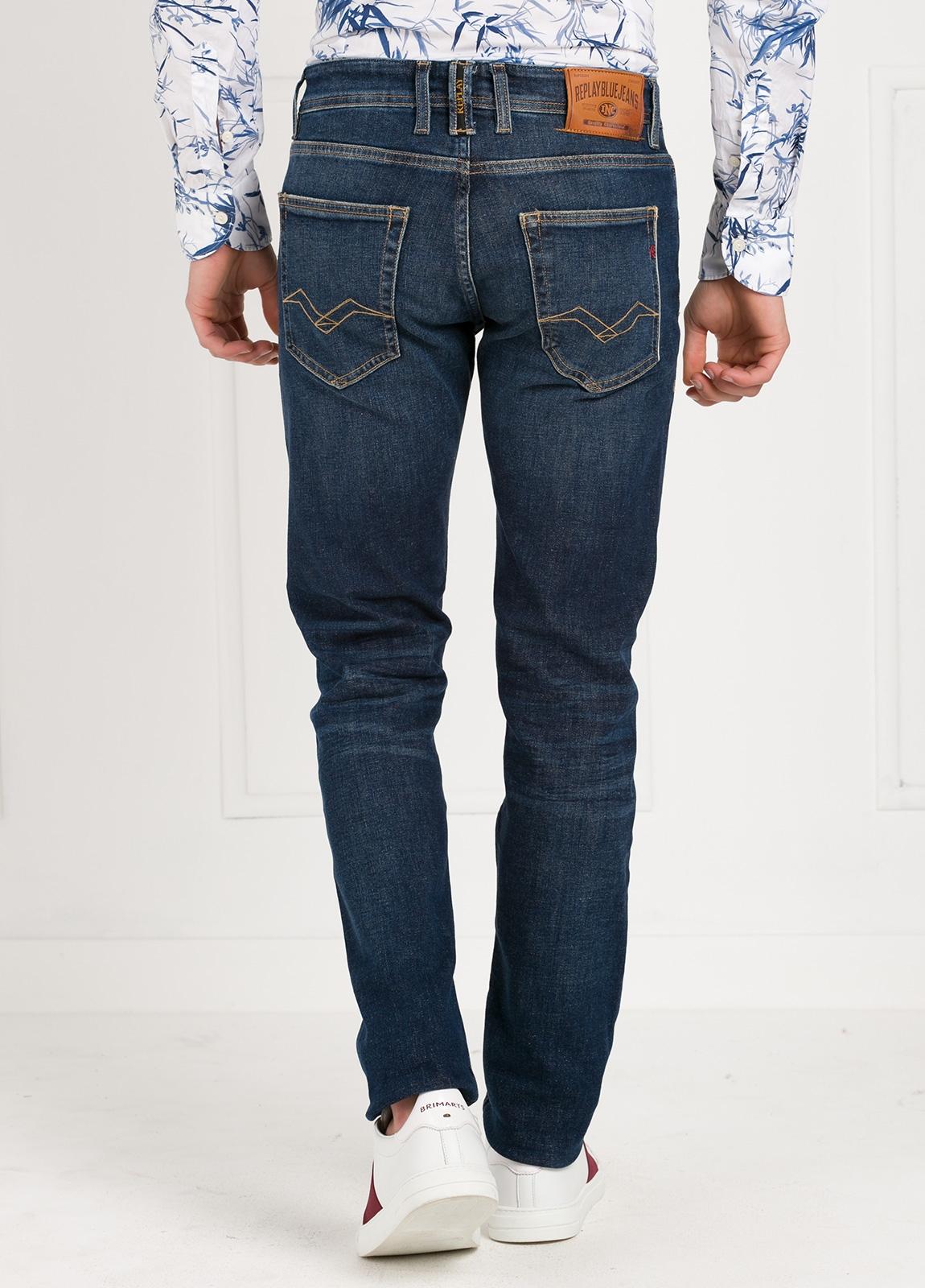 Pantalón tejano corte recto MA972 GROVER color azul oscuro lavado algodón - Ítem1