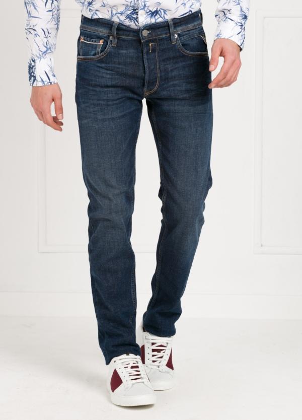Pantalón tejano corte recto MA972 GROVER color azul oscuro lavado algodón