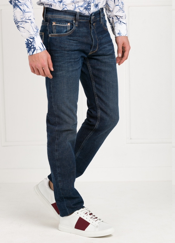 Pantalón tejano corte recto MA972 GROVER color azul oscuro lavado algodón - Ítem2