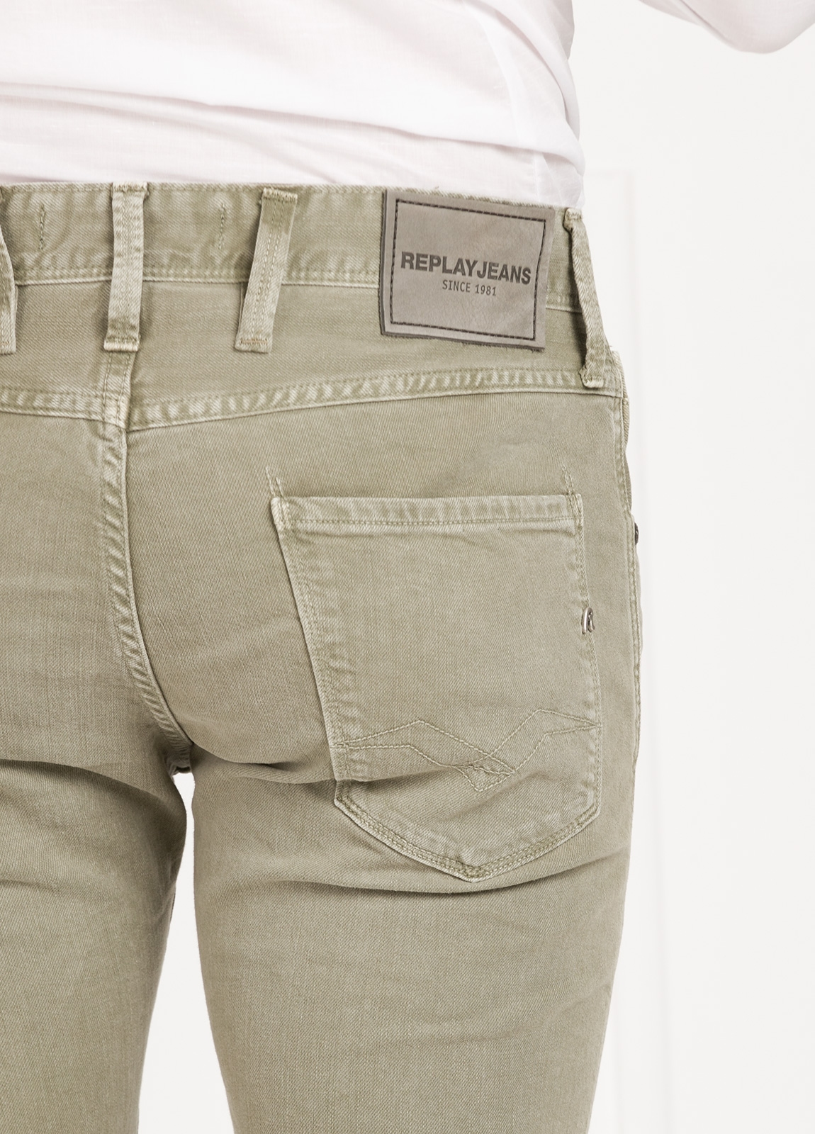 Pantalón tejano SLIM FIT M914D ANBASS color kaki lavado algodón - Ítem2
