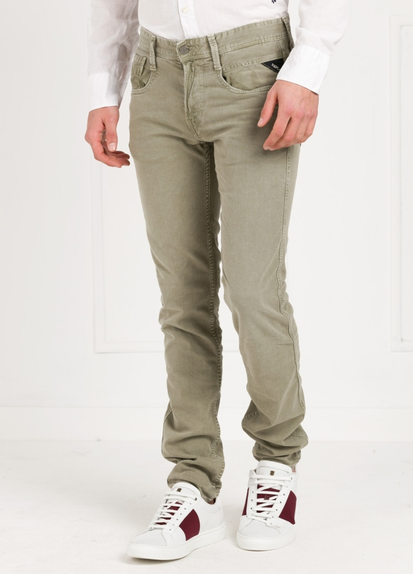 Pantalón tejano SLIM FIT M914D ANBASS color kaki lavado algodón