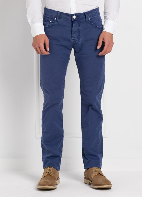 Pantalón cinco bolsillos modelo PW688 color azul. Algodón gabardina vintage.