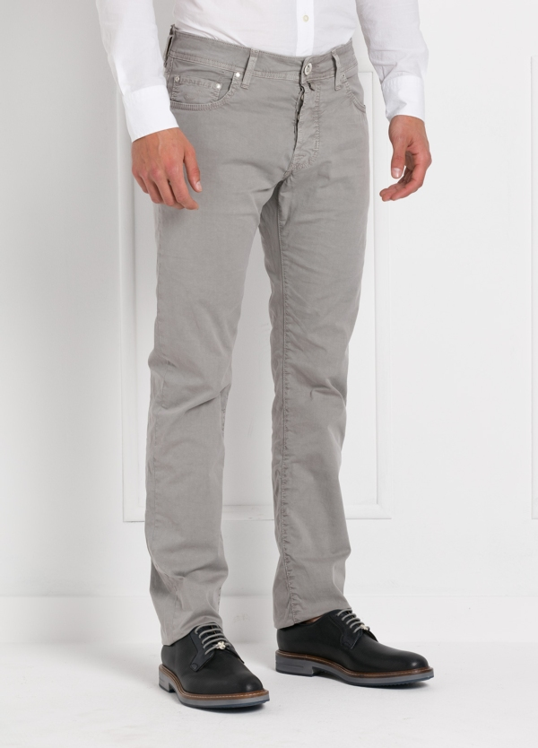 Pantalón cinco bolsillos modelo PW688 color gris. Algodón gabardina vintage. - Ítem2