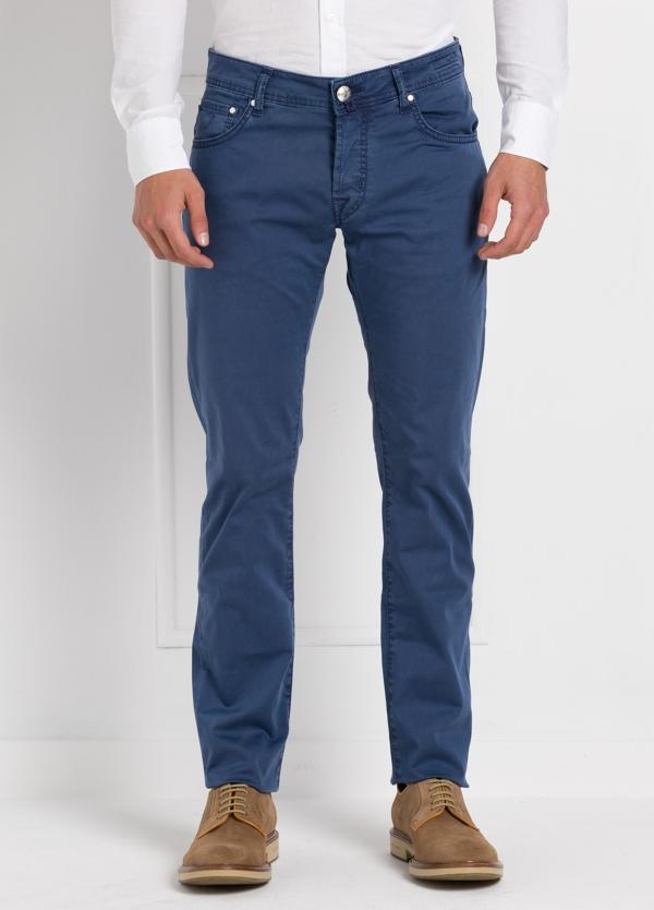 Pantalón cinco bolsillos modelo PW622 color azul. Algodón gabardina vintage. Algodón satén vintage.