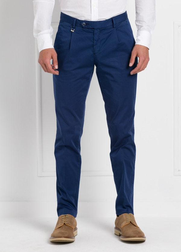 Pantalón modelo slim fit 1 pinza color azul. 97% Algodón 3% Ea. - Ítem2