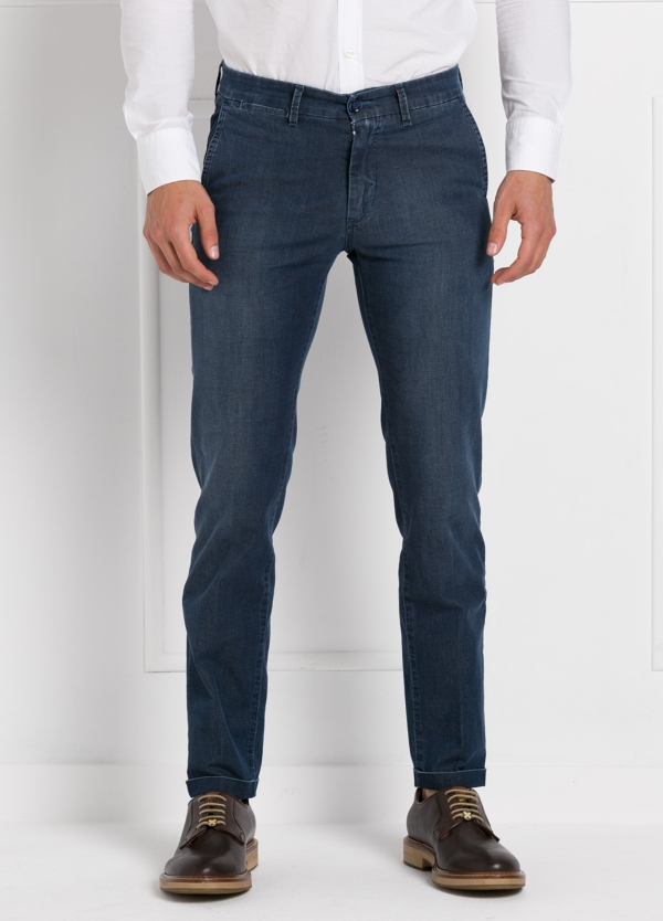 Pantalón sport modelo MUCHA P249 color azul. Algodón y elastáno.