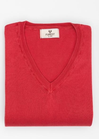 Jersey cuello pico color rojo, 100% Algodón. - Ítem2