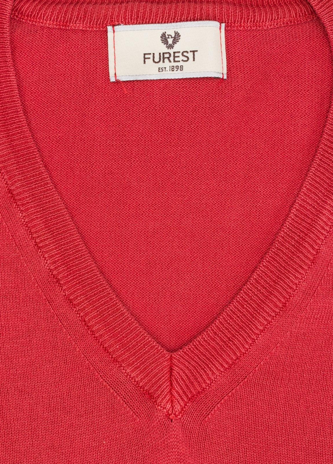 Jersey cuello pico color rojo, 100% Algodón. - Ítem1