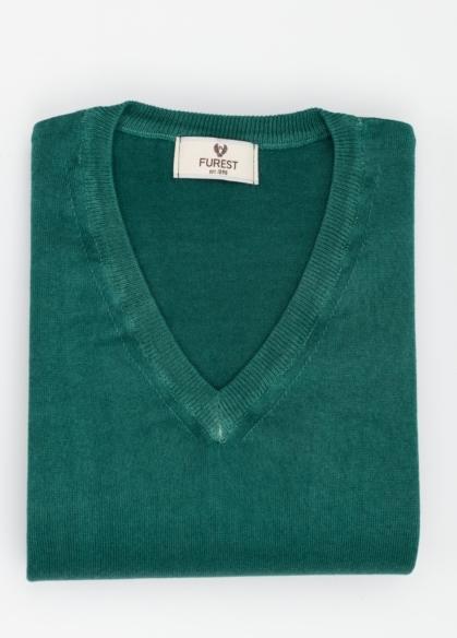 Jersey cuello pico color verde, 100% Algodón. - Ítem3