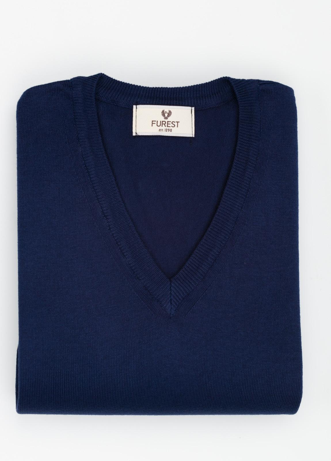 Jersey cuello pico color azul marino, 100% Algodón.