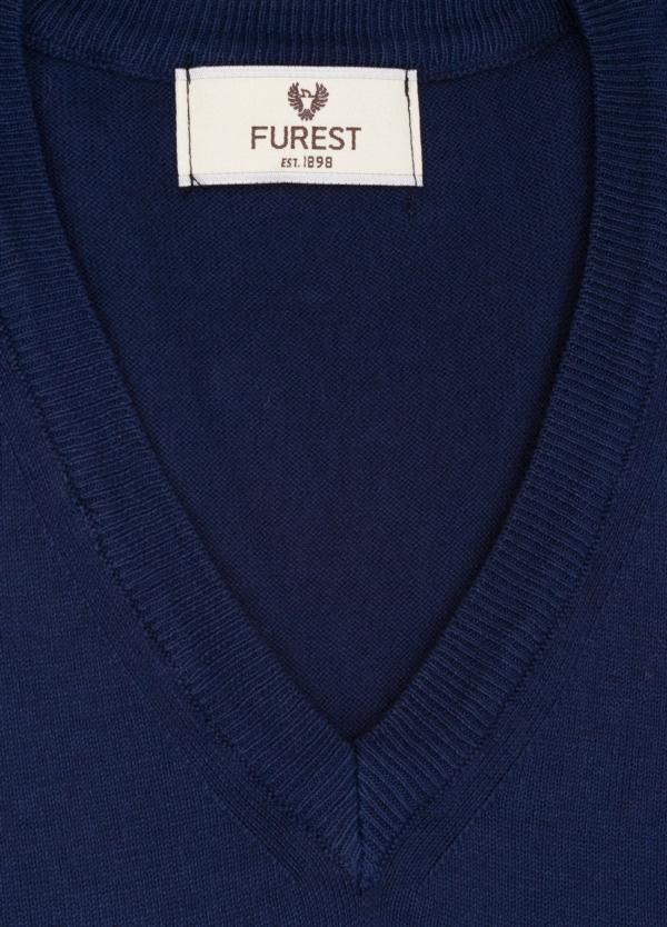 Jersey cuello pico color azul marino, 100% Algodón. - Ítem1