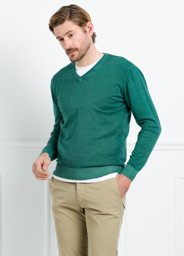 Jersey cuello pico color verde, 100% Algodón. - Ítem4