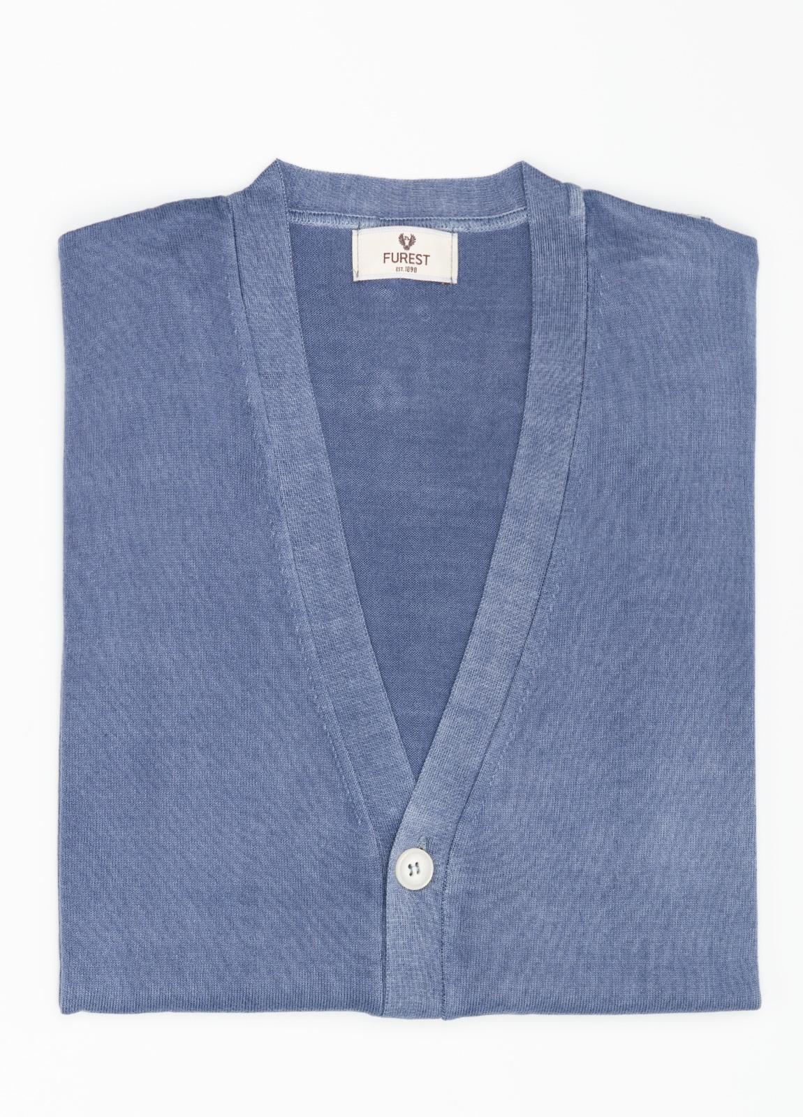 Cardigan con botones color azul, 100% Algodón.