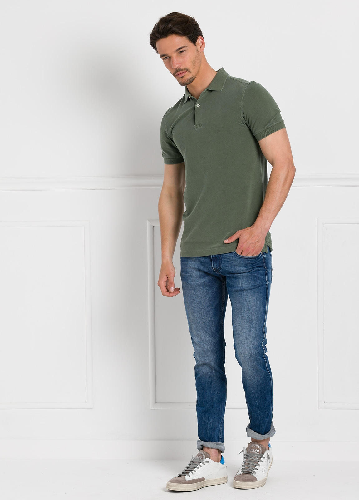 Polo liso manga corta, color verde kaki. 100% Algodón Piqué. - Ítem1