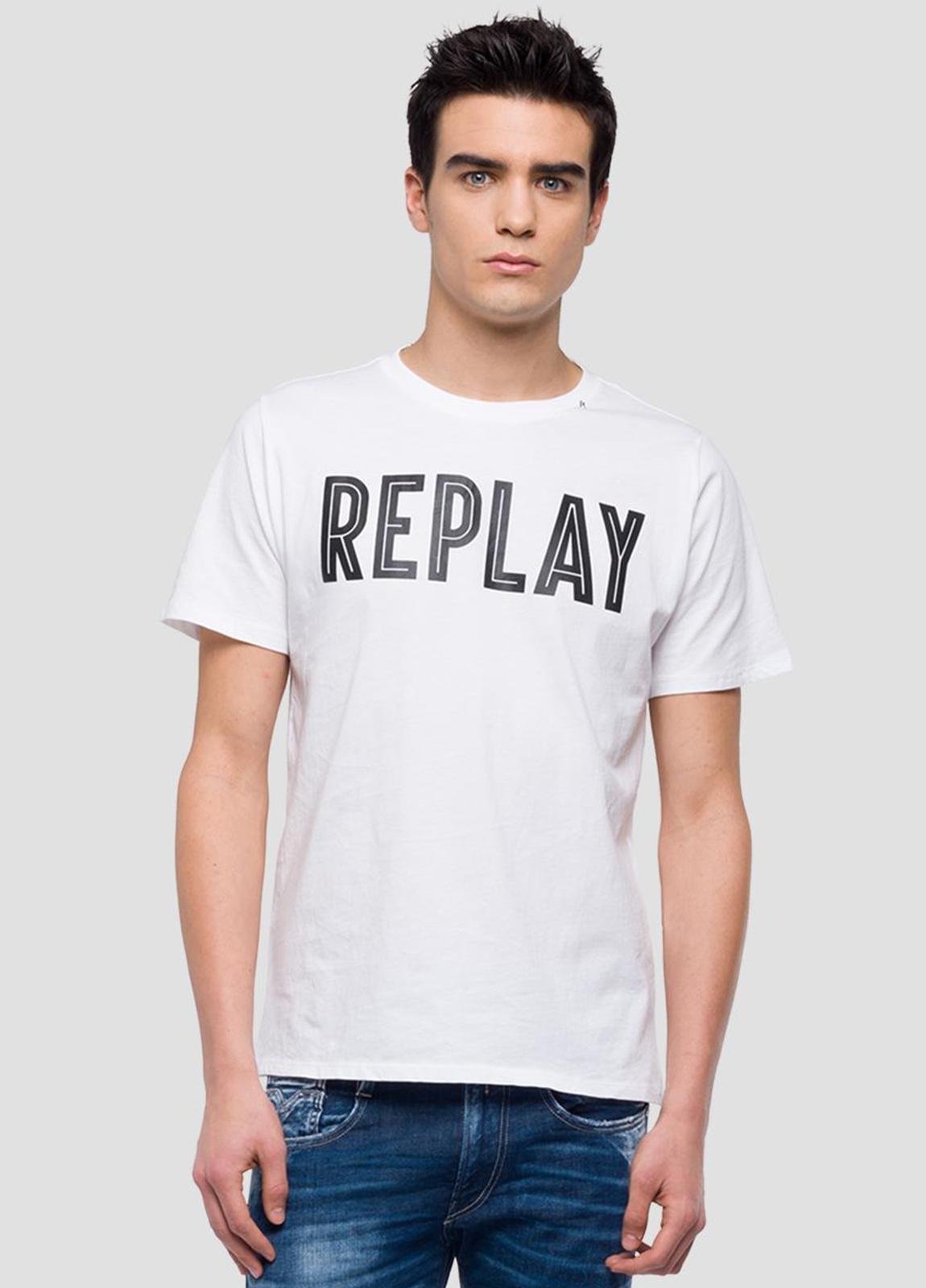 Camiseta manga corta color blanco con estampado Replay. 100% Algodón.