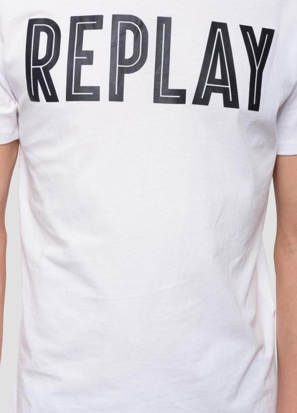 Camiseta manga corta color blanco con estampado Replay. 100% Algodón. - Ítem1