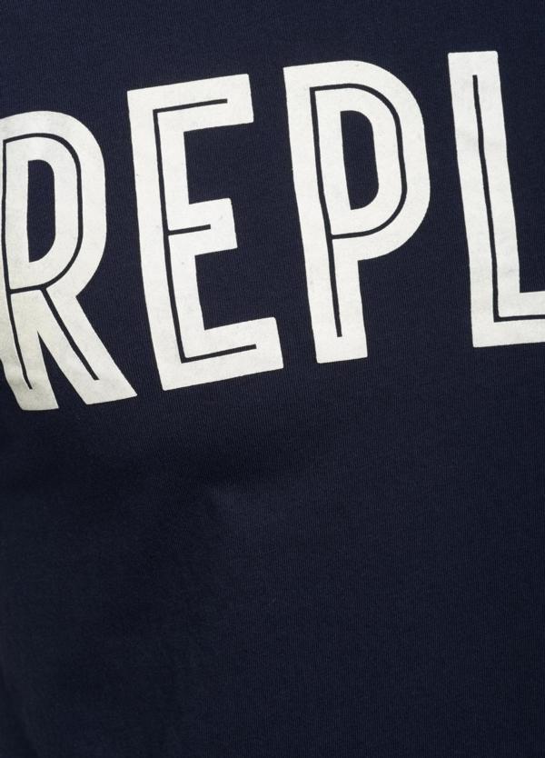 Camiseta manga corta color azul marino con estampado Replay. 100% Algodón. - Ítem3