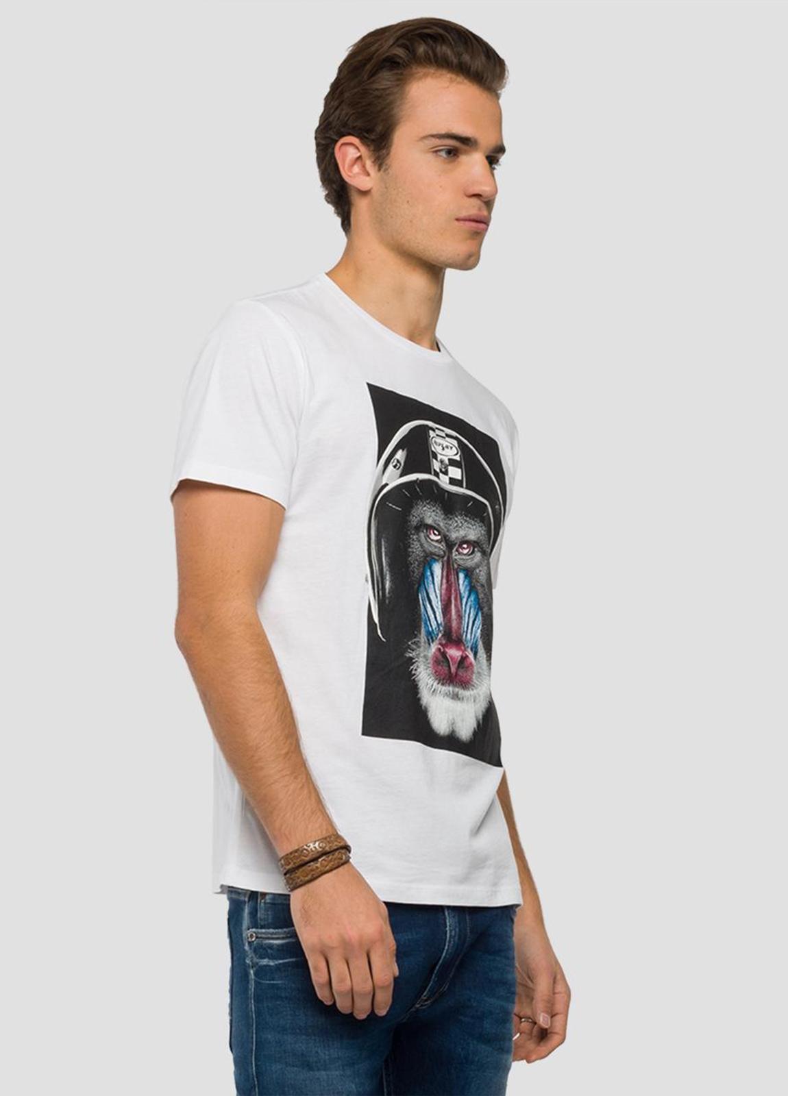 Camiseta manga corta color blanco con estampado de mandril.100% Algodón. - Ítem2
