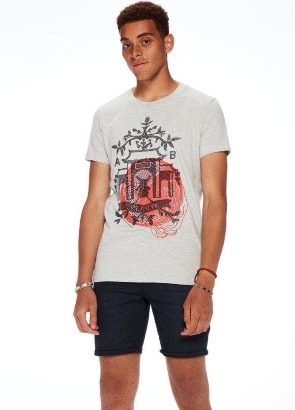 Camiseta manga corta color gris jaspeado con estampado gráfico. - Ítem2