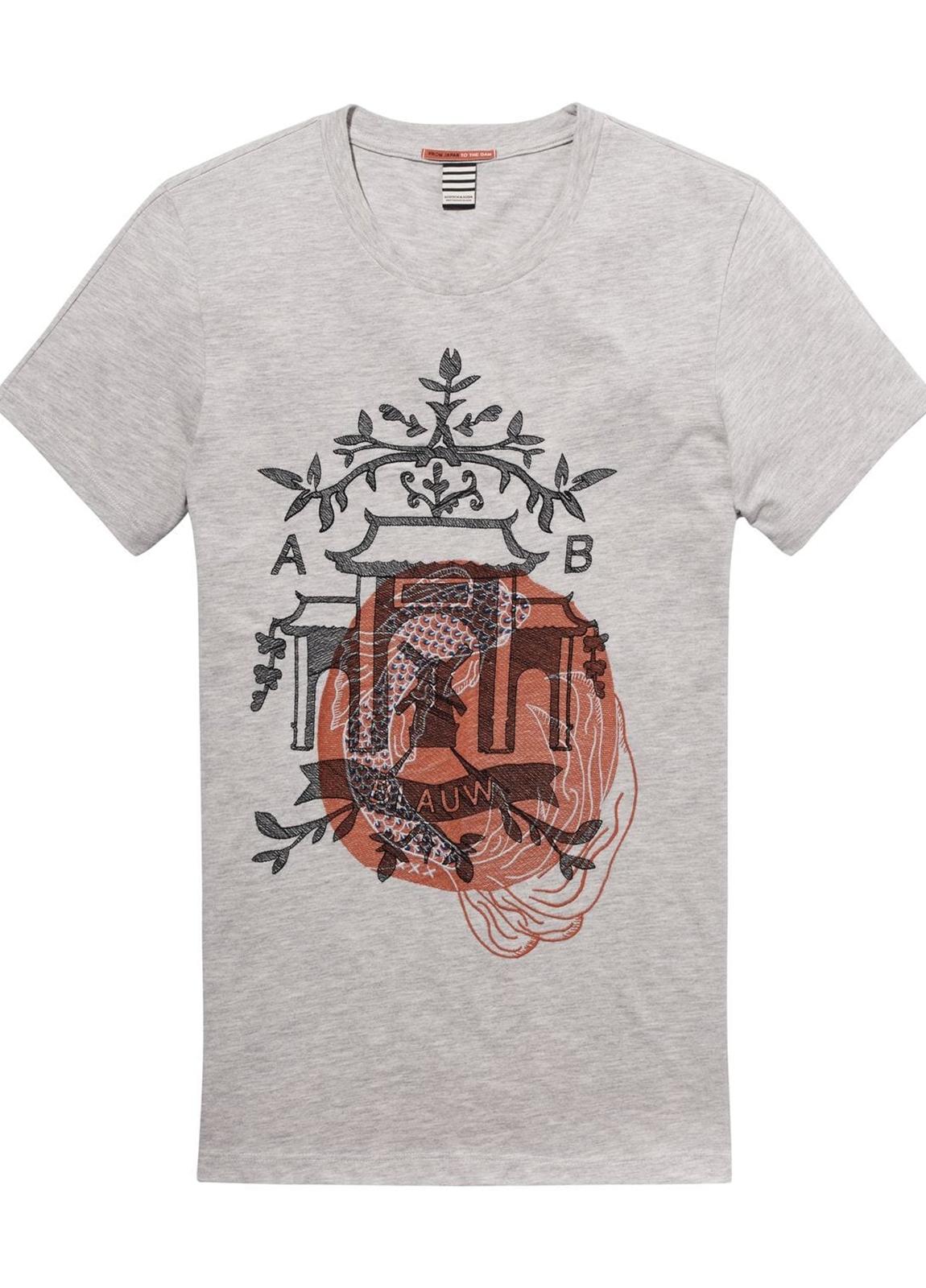 Camiseta manga corta color gris jaspeado con estampado gráfico. - Ítem1