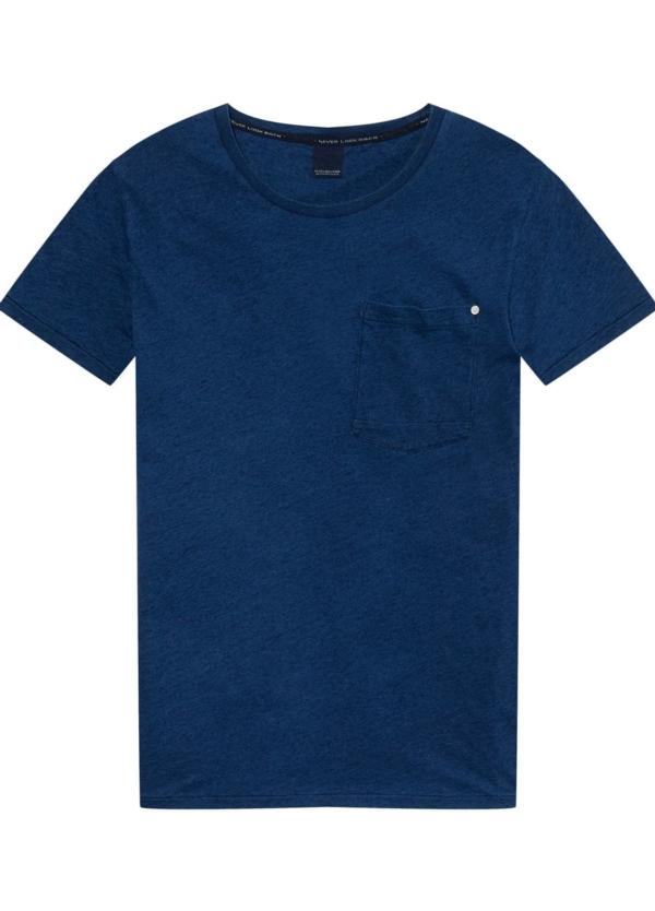 Camiseta manga corta con bolsillo en pecho color azul índigo. 100% Algodón.
