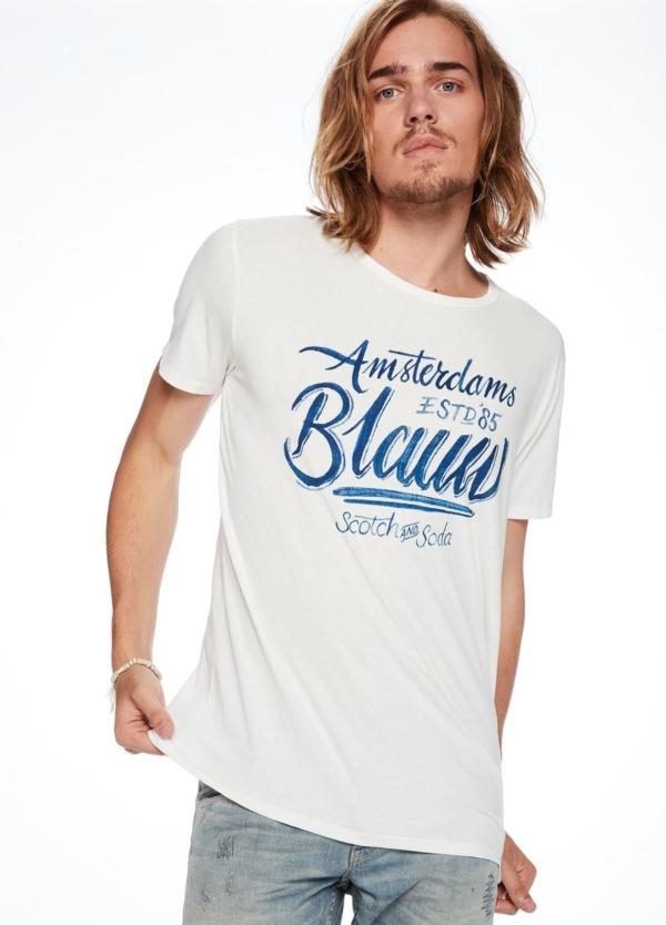 Camiseta manga corta color blanco con logotipo estampado. 100% Algodón.