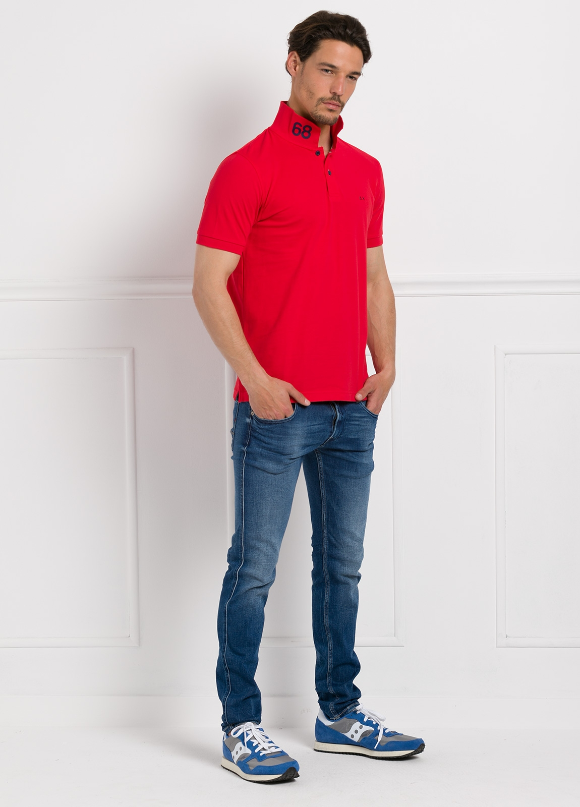 Polo piqué manga corta color rojo, 100% Algodón.