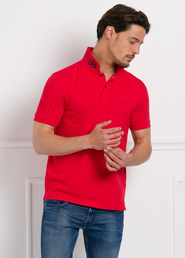 Polo piqué manga corta color rojo, 100% Algodón. - Ítem1