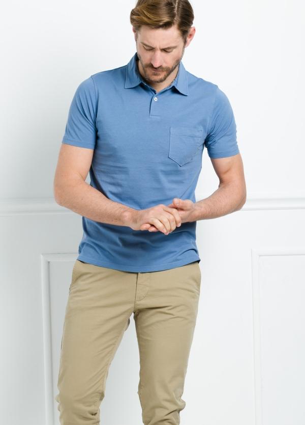 Polo liso manga corta color azul con bolsillo en pecho. 100% Algodón. - Ítem2
