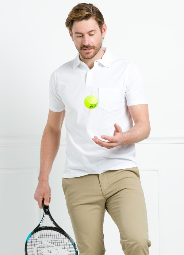 Polo liso manga corta color blanco con bolsillo en pecho. 100% Algodón. - Ítem2