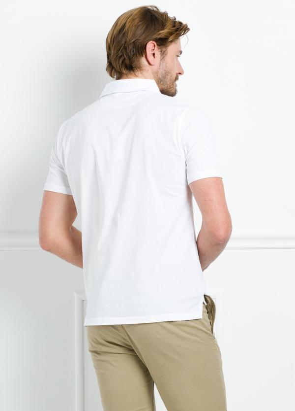 Polo liso manga corta color blanco con bolsillo en pecho. 100% Algodón. - Ítem1