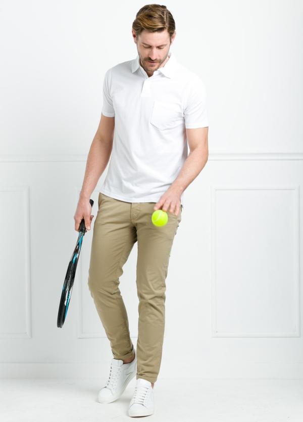 Polo liso manga corta color blanco con bolsillo en pecho. 100% Algodón.