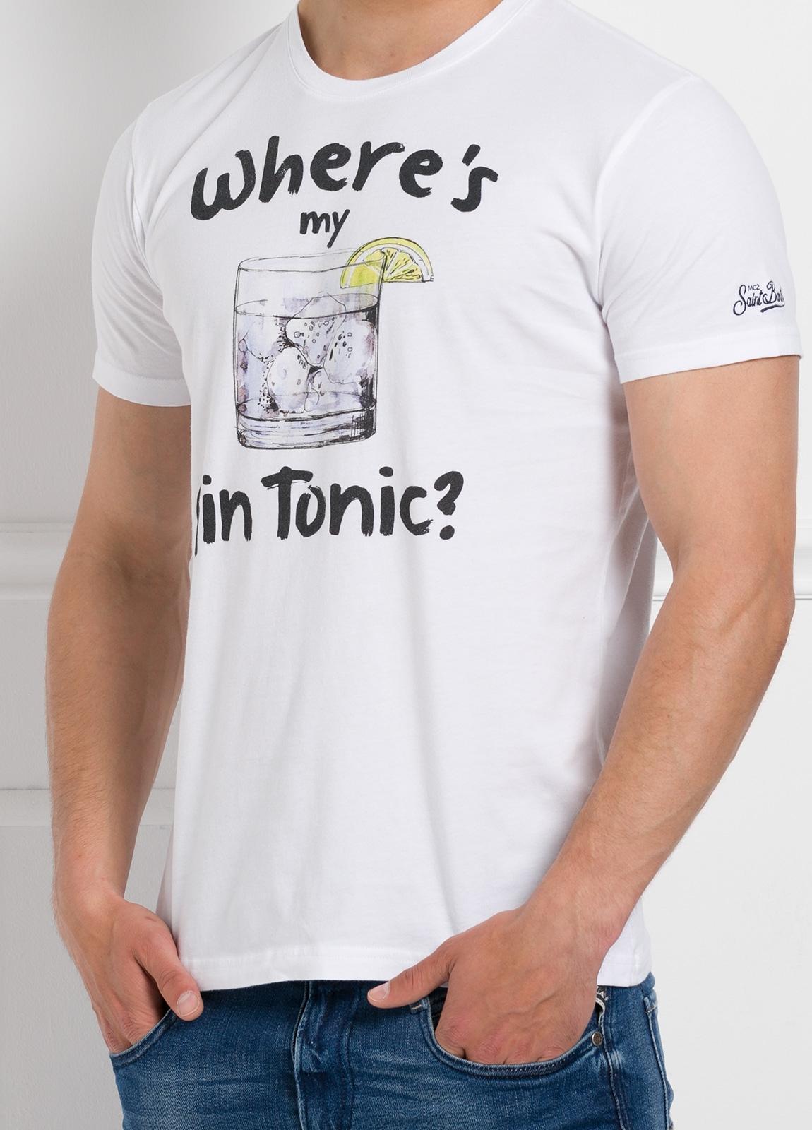 Camiseta manga corta con estampado gráfico, color blanco, algodón. - Ítem1