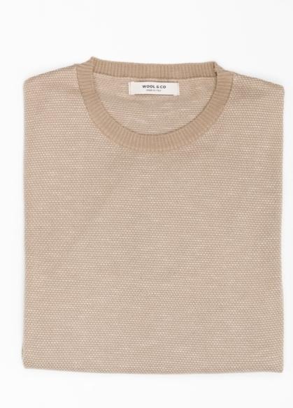 Jersey cuello redondo color beige. 100% Algodón - Ítem1