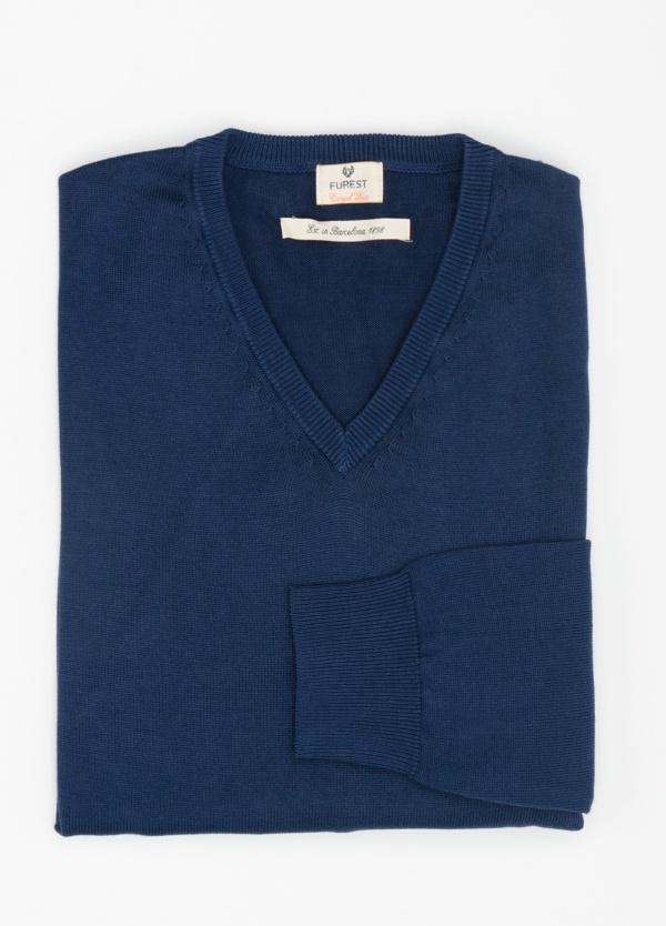 Jersey Casual Wear, SLIM FIT cuello pico color azul noche, 100% algodón.