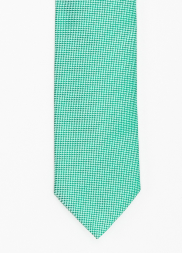 Corbata Formal Wear microtextura color azul verde. Pala 7,5 cm. 100% Seda.
