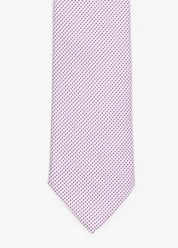 Corbata Formal Wear micro dibujo color rosa. Pala 7,5 cm. 100% Seda.
