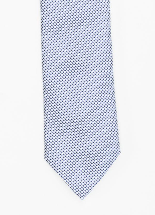 Corbata Formal Wear micro dibujo color azul. Pala 7,5 cm. 100% Seda.