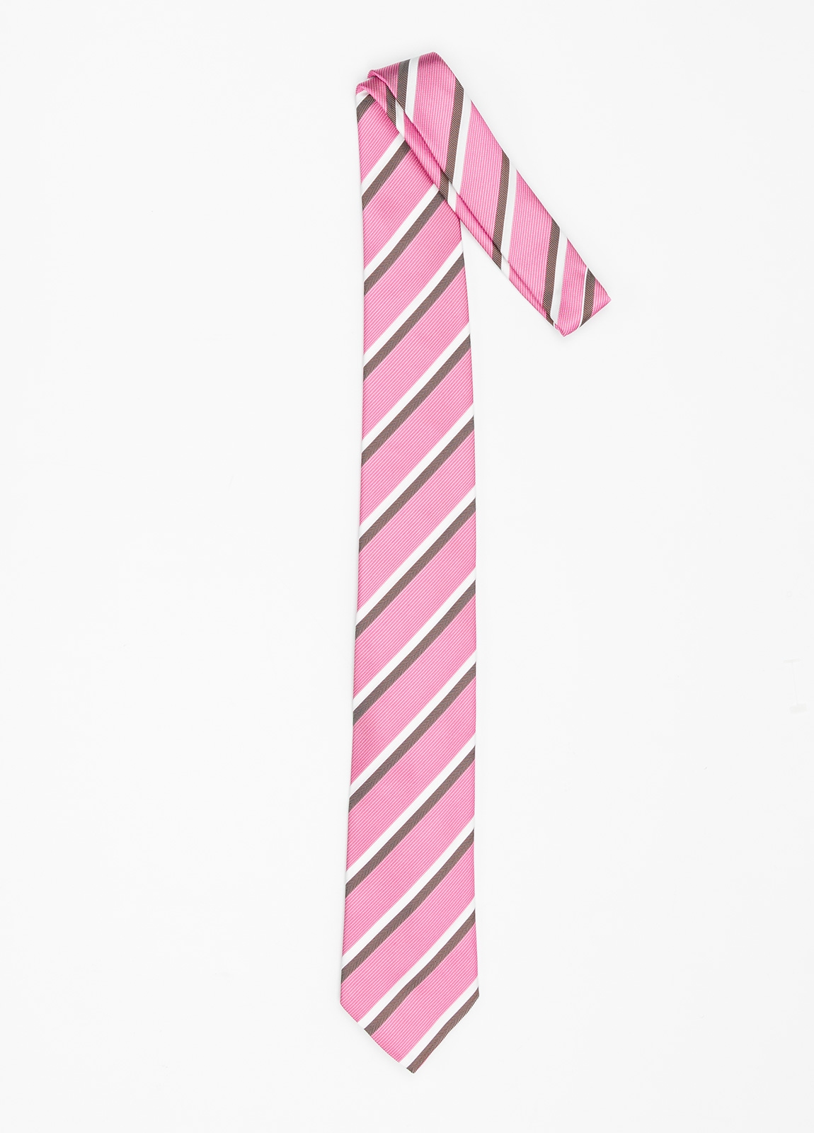 Corbata Formal Wear rayas en diagonal color rosa. Pala 7,5 cm. 98% Seda 2% Algodón. - Ítem1