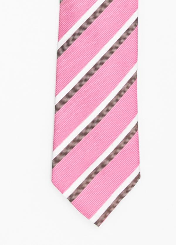 Corbata Formal Wear rayas en diagonal color rosa. Pala 7,5 cm. 98% Seda 2% Algodón.