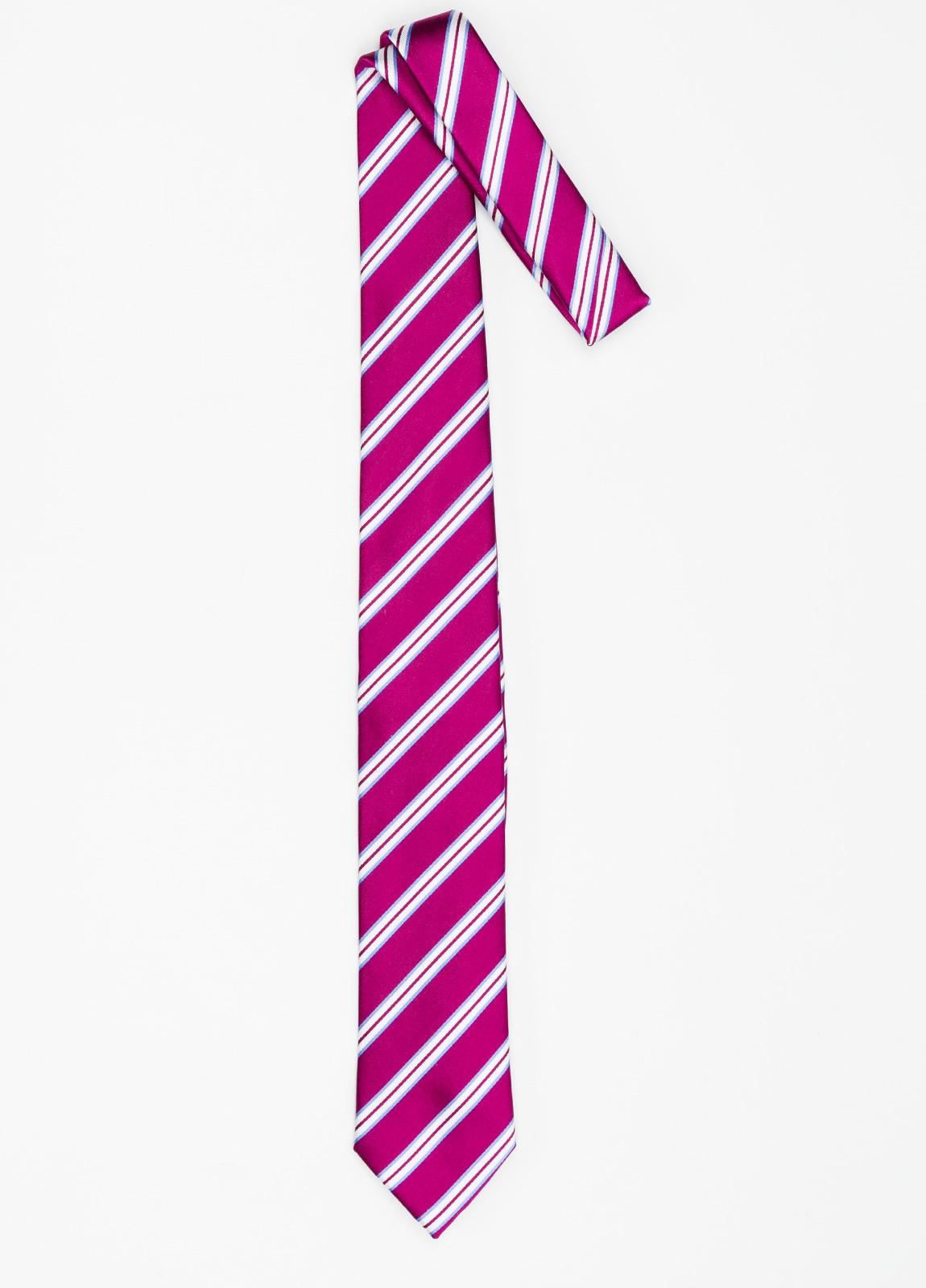 Corbata Formal Wear rayas en diagonal color fuxia. Pala 7,5 cm. 100% Seda. - Ítem1