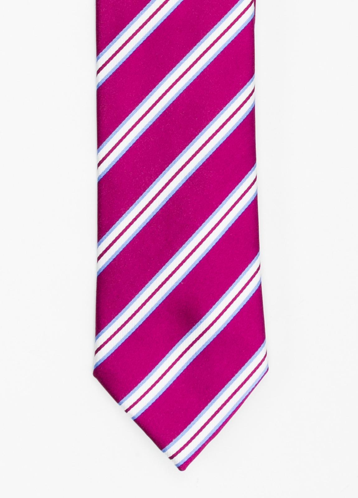 Corbata Formal Wear rayas en diagonal color fuxia. Pala 7,5 cm. 100% Seda.