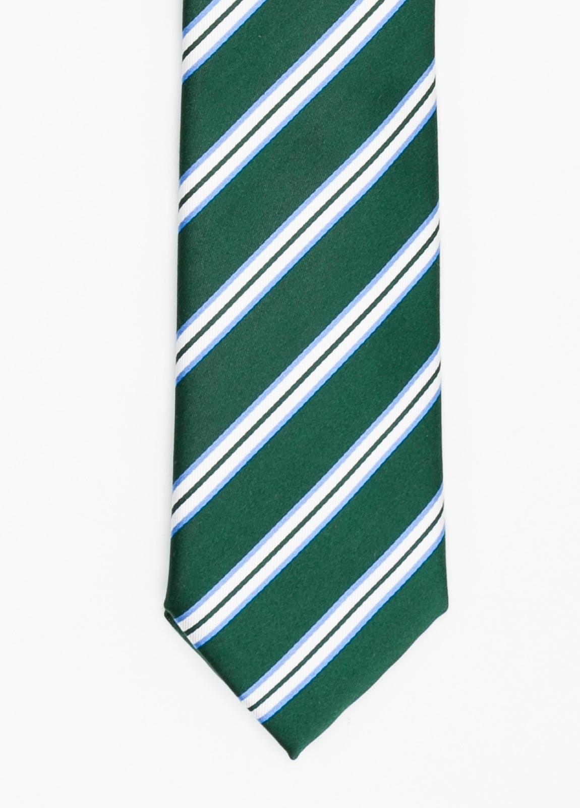 Corbata Formal Wear rayas en diagonal color verde. Pala 7,5 cm. 100% Seda.