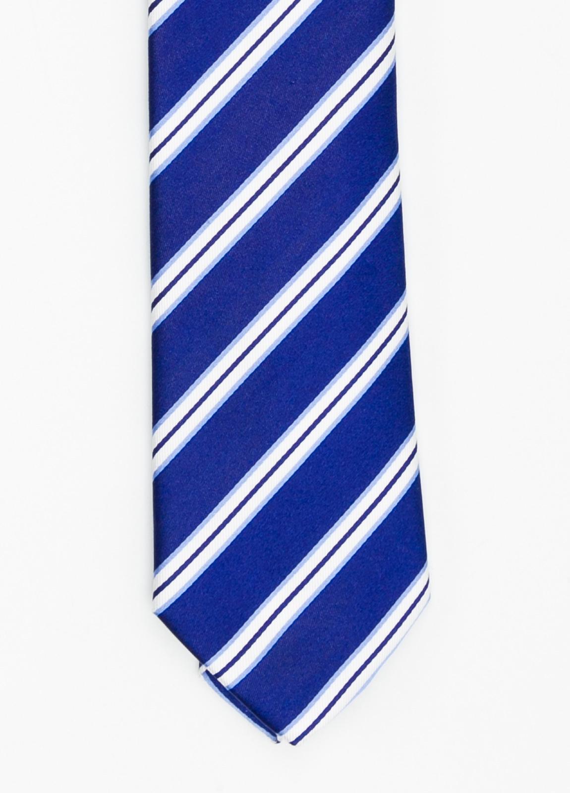 Corbata Formal Wear rayas en diagonal color azulón. Pala 7,5 cm. 100% Seda.