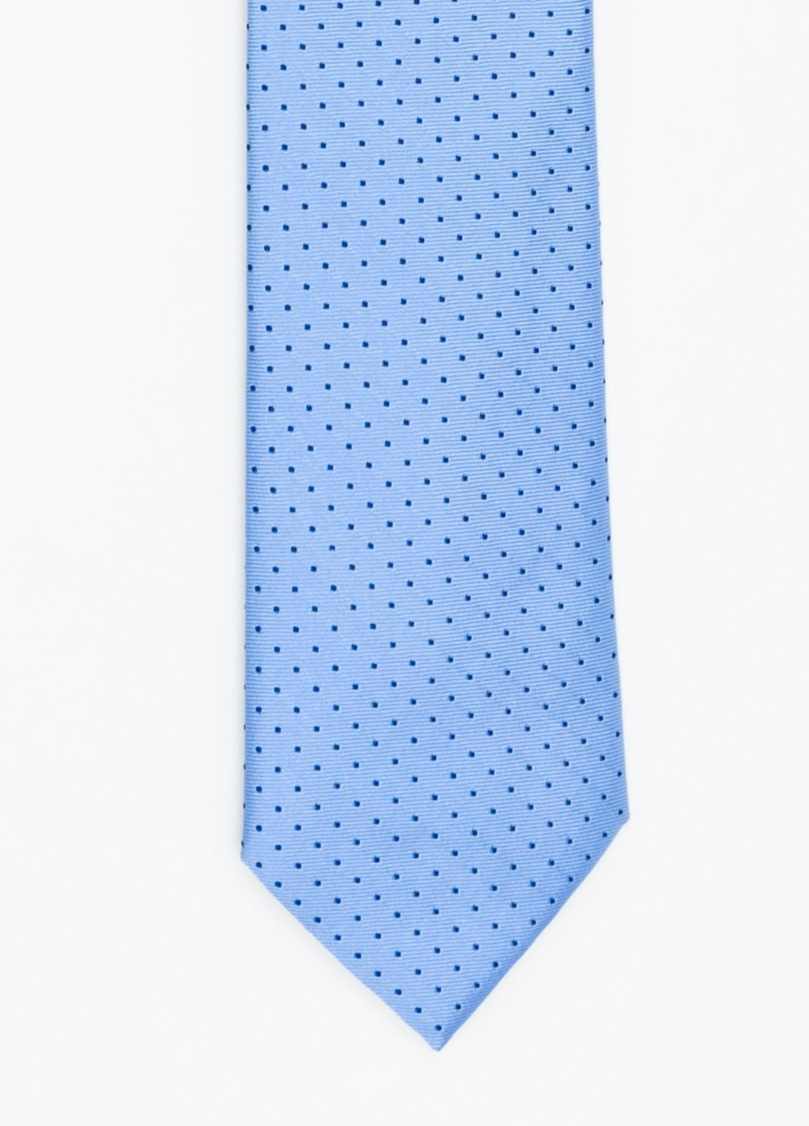 Corbata Formal Wear micro dibujo color azul celeste. Pala 7,5 cm. 100% Seda.