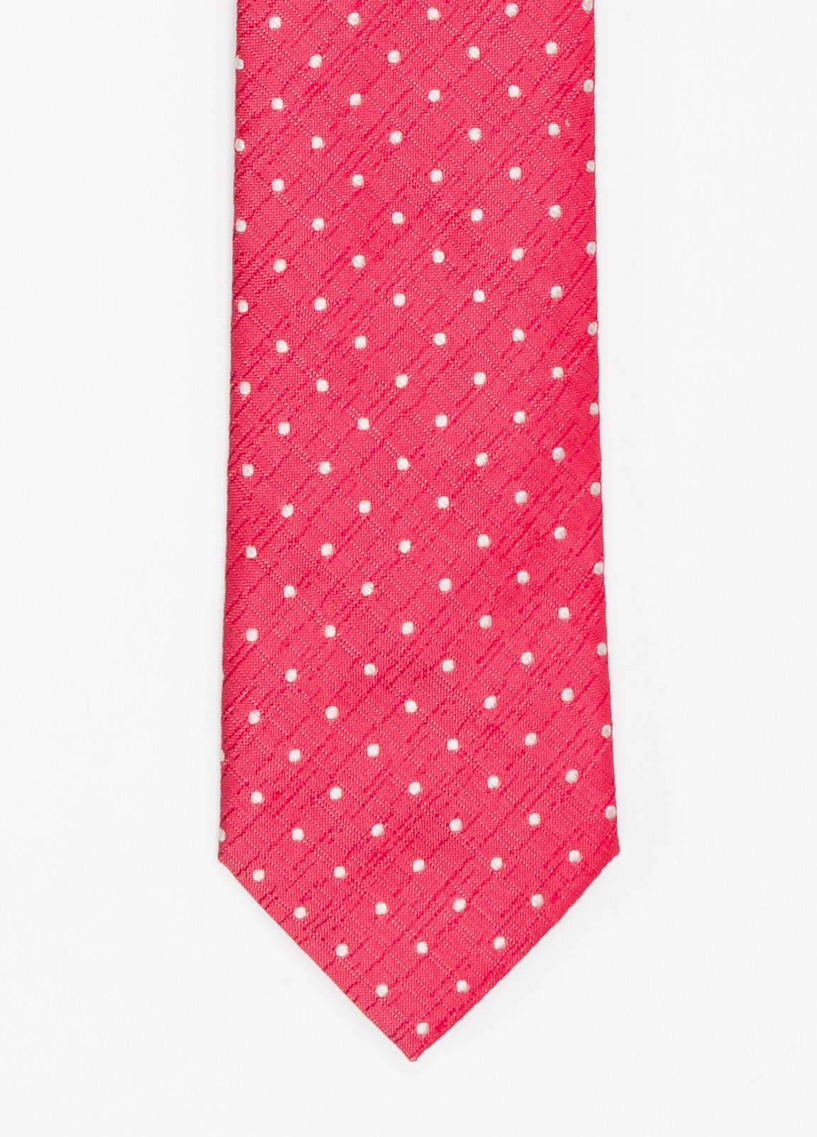 Corbata Formal Wear micro textura topito color rojo. Pala 7,5 cm. 100% Seda.