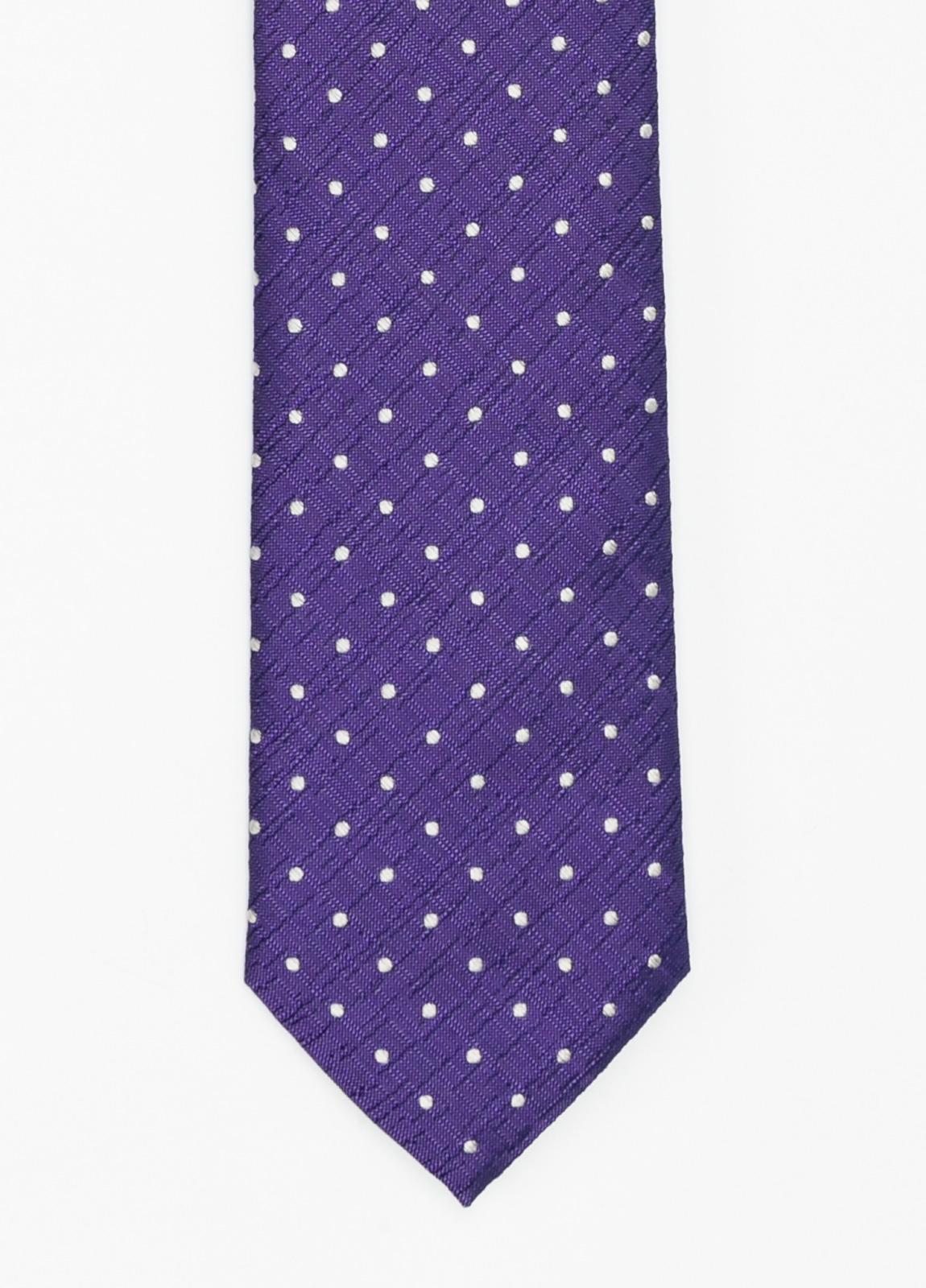 Corbata Formal Wear micro textura topito color azul tinta. Pala 7,5 cm. 100% Seda.