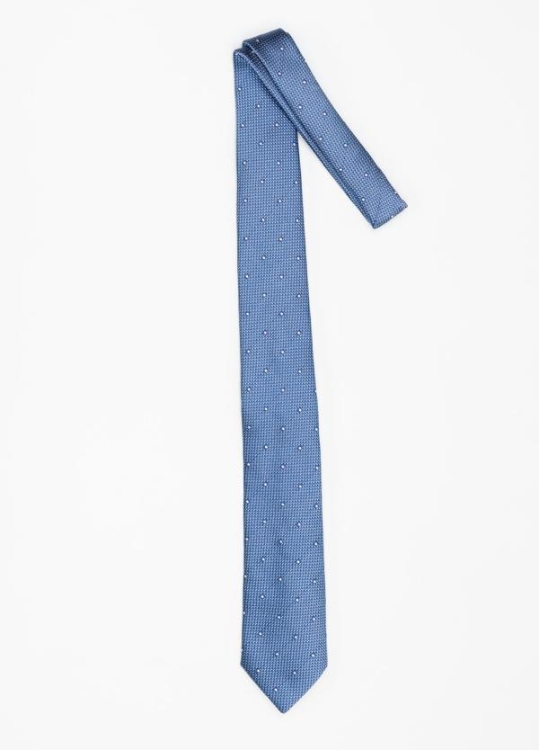 Corbata Formal Wear micro textura topito color azul. Pala 7,5 cm. 100% Seda. - Ítem1